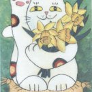 Maneki Neko Lucky Calico Cat with Daffodils ACEO Print