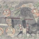 Pumpkin Patch Mayhem Witch Cat JOLs Halloween ACEO Print