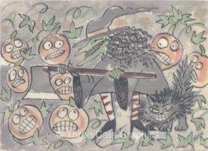 Pumpkin Patch Mayhem Witch Cat JOLs Halloween ACEO Print