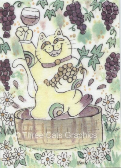 A Very Lucky Vintage Calico Neko Cat Stomping Grapes ACEO Print