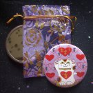 Maneki Neko I Heart Being Lucky Cat in Lavender Pocket Mirror