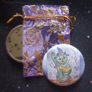 Maneki Neko Moon Guardian Cat Pocket Mirror & ACEO Print