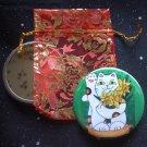 Daffodil Maneki Neko Lucky Cat Pocket Mirror & ACEO Print