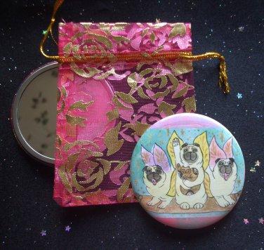 Lucky Fairy Pugs in Flight with Lucky Neko Kitten Pocket Mirror & ACEO Print