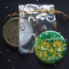 Angelic Cats with Star in Green Pocket Mirror