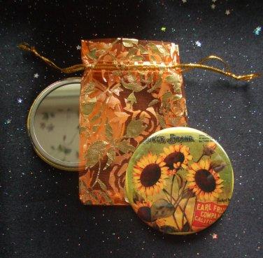 Sunflower Vintage Flower Illustration Pocket Mirror