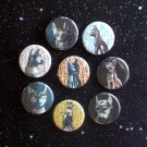"Egyptian Cat Goddess Bast 1.25"" Magnets Set of 8"