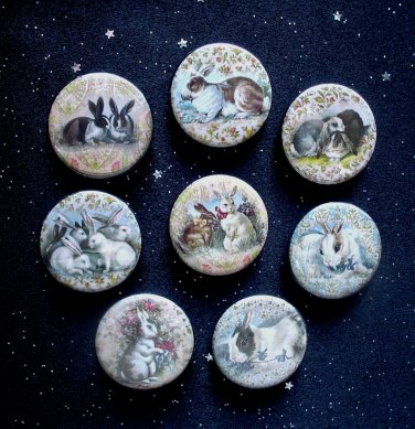 "Sweet Bunny Rabbits 1.25"" Magnets Set of 8"