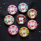 "Maneki Neko Japanese Lucky Cats - I Heart Being Lucky 1.25"" MAGNETS Set of 8"