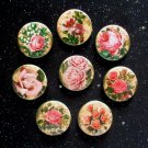 "Pretty Pink Retro Roses 1.25"" Magnets Set of 8"