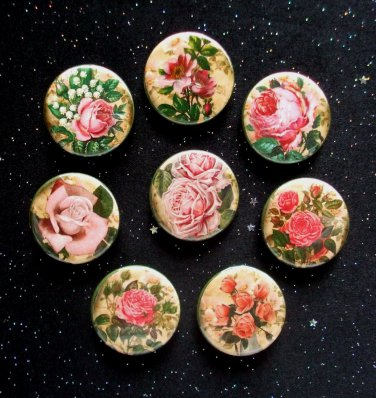 """Pretty Pink Retro Roses 1.25"""" Magnets Set of 8"""