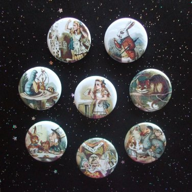 "Alice in Wonderland 1.25"" Magnets Set of 8"