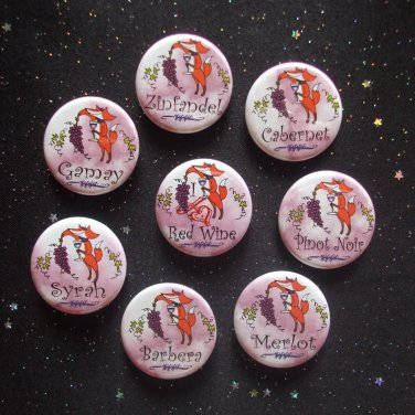 """Fox & Grapes Red Wine 1.25"""" Magnets Set of 8 Pinot Noir, Cabernet, & More"""