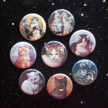 """Cute Kitty Cats 1.25"""" Magnets Set of 8"""