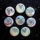 """Happy Jovial Pugs 1.25"""" Magnets Set of 8"""
