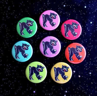"Retro Hissing Black Cats in Rainbow Colors 1.25"" MAGNETS Set of 8"