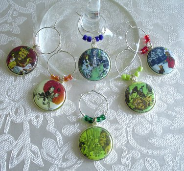 Wonderful Wizard of Oz Wine & Drink Glass Charms Set of 6 Dorothy, Tin Man, Lion, More