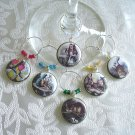 Alice in Wonderland Wine & Drink Glass Charms Set of 6 Alice, Rabbit, Cheshire Cat, more