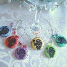 Colorful Black Cats with Arched Backs Wine & Drink Glass Charms Set of 6