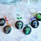 Colorful Sugar Skulls Wine & Drink Glass Charms Set of 6