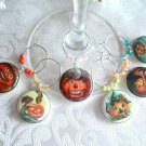 Retro Jack O Lanterns Halloween Wine & Drink Glass Charms Set of 6