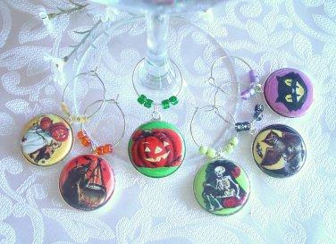 Retro Halloween Wine & Drink Glass Charms Set of 6