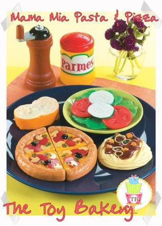 Child Pretend Kitchen Play Toy Food Pasta, Pizza & Salad Set