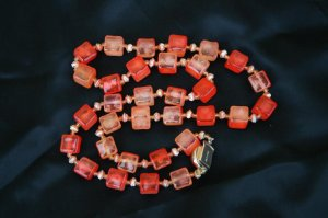 Vintage Luminous Tangerine Bead Cube Lucite Necklace With Ornate Simulated 'Amberina' Clasp