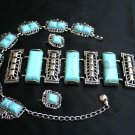 Vintage 'Swinging Sixties' Simulated Turquoise & Metal Parure