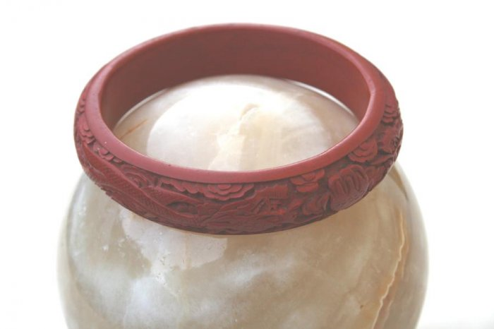 Antique Cinnabar Brick Red Tsuishu Bangle Bracelet With Ornate Deep Carving