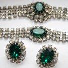 Vintage Fabulous Fifties Quality Green and Clear  Rhinestone Choker Set