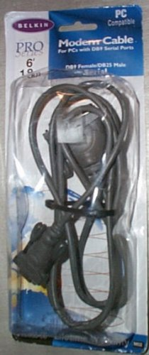 Belkin Pro Series AT Serial Modem Cable DB25F to DB9 6-Ft NEW