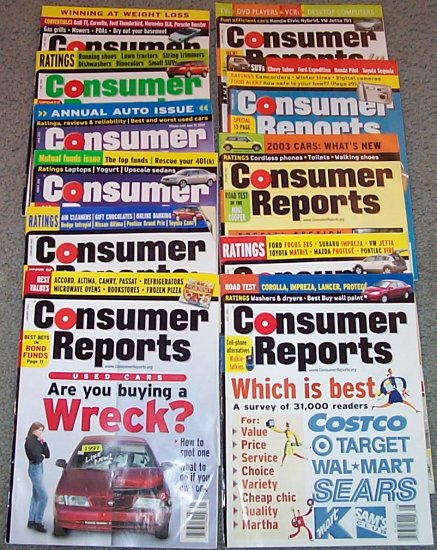 CONSUMER REPORTS LOT 2002 and 8 Buyer Guides