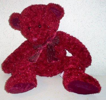 RED fluffy teddy bear