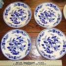 Exotic Birds Blue and White Set of 4 Plates Japan