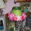 Handmade Lace Lamp Shade Green Shade w Pink White Flowers Dangle Trim