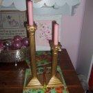 Vintage Brass Candle Sticks Holders Column Hand Gold Leaf Reduced $20