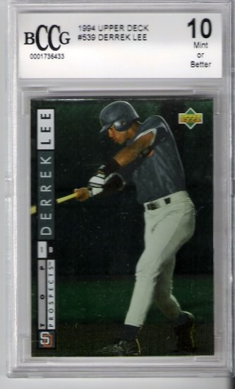 1994 UPPER DECK BCCG DERREK LEE GEM 10 ROOKIE CARD CHICAGO CUBS