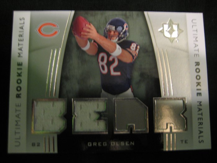 Greg Olsen 2007 Upper Deck Ultimate collection double patch jersey rookie card Chicago Bears