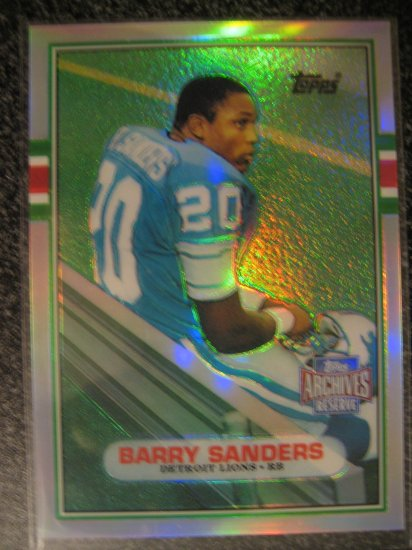Barry Sanders 1989 Topps Rookie refractor REPRINT 2001 Detriot Lions Hall of Fame