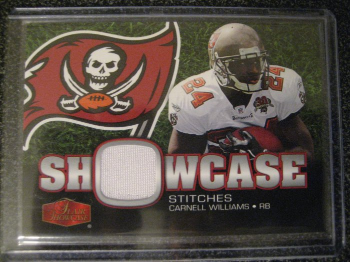 Carnell Williams 06 Flair Showcase Showcase Stitches Jersey card Tampa Bay Bucanners