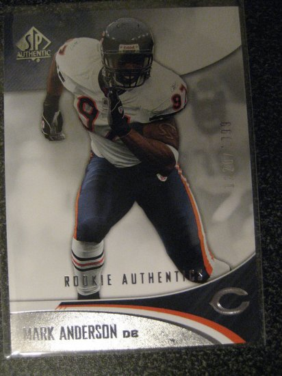Mark Anderson 06 Sp Authentic rookie card serial numbered 1220/1399 Chicago Bears