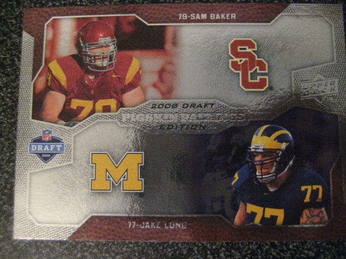 Sam Baker Jake Long 08 Upper Deck Pigskin Pairngs rookie card