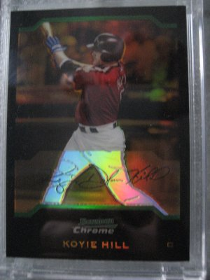 Koyie Hill 04 Bowman Chrome Gold Refractor Rookie Card serial numbered 01 of 50 Chicago Cubs RARE