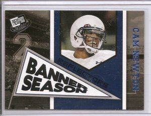2011 Cam Newton Press Pass Banner Season Blue Foil rookie card Carolina Panthers