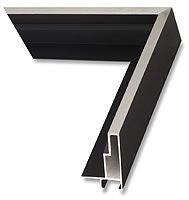 Canvas floater frame, Brushed Silver on Matte Black