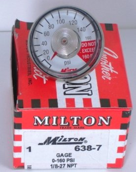 638-7 GAGE 0-160 PSI, 1/8 -27 MALE NPT MILTON 638-7