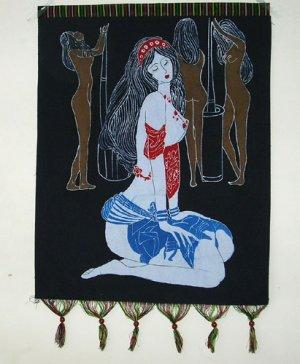 chinese batik art  mural painting- praying girl