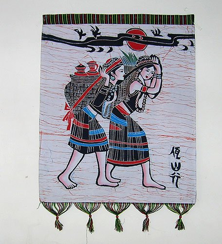 chinese batik art mural painting-Wa nationality's  tour