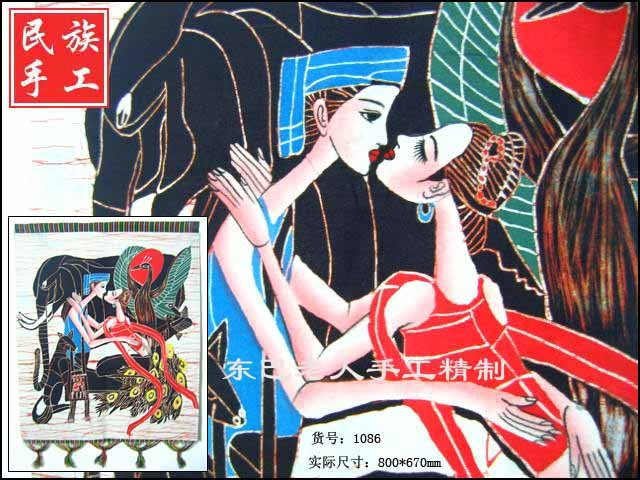 chinese batik art   mural painting- romantic loving